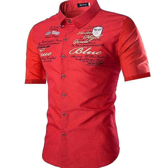 Fashion Men's Short Sleeve Printed Shirt Fashion Trend Lapel Slim Shirt-rouge à prix pas cher