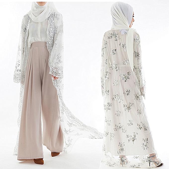 mode Hiamok Muslim femmes Lace Sequin voituredigan Maxi Robe Kimono Open Abaya Robe Kaftan Dubai à prix pas cher