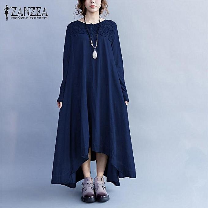 Zanzea ZANZEA Femme Button Up Plus Taille en coton Kaftan Boho - Robe longue à manches longues - bleu marine à prix pas cher