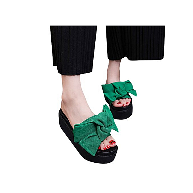Fashion Jiahsyc Store femmes Comfy Plain Rubber Slippers Flip Flop Bow Sliders High Heel Sandals  GN 35-vert à prix pas cher