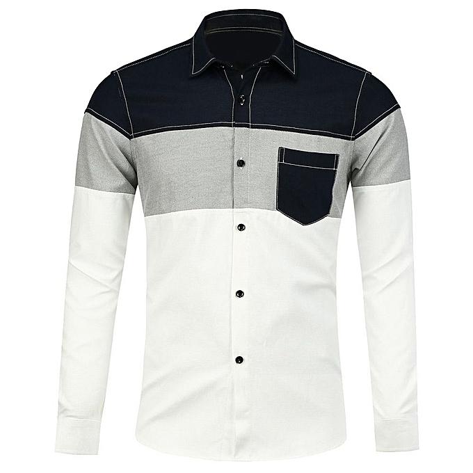Fashion Long Sleeve Pocket Shirt_blanc à prix pas cher