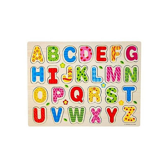 Generic A Set 26pcs bois Alphabet English Letters Puzzle Jigsaw Educational Toy à prix pas cher