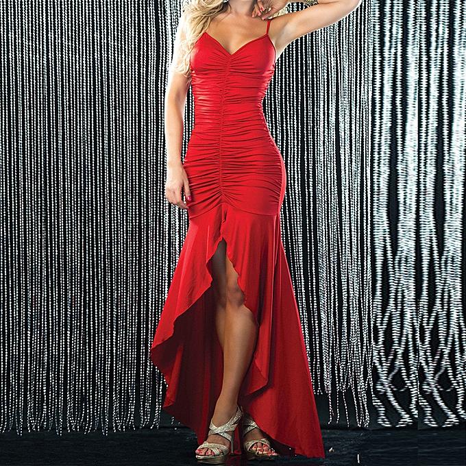 mode jiahsyc store femmes  Solid Sleeveless Irregular Long Robe été Party Cami Robees-rouge à prix pas cher