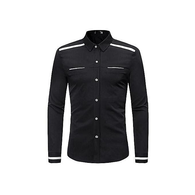 AFankara Shirt Slim Fit Popular Designs Men Shirts-noir à prix pas cher
