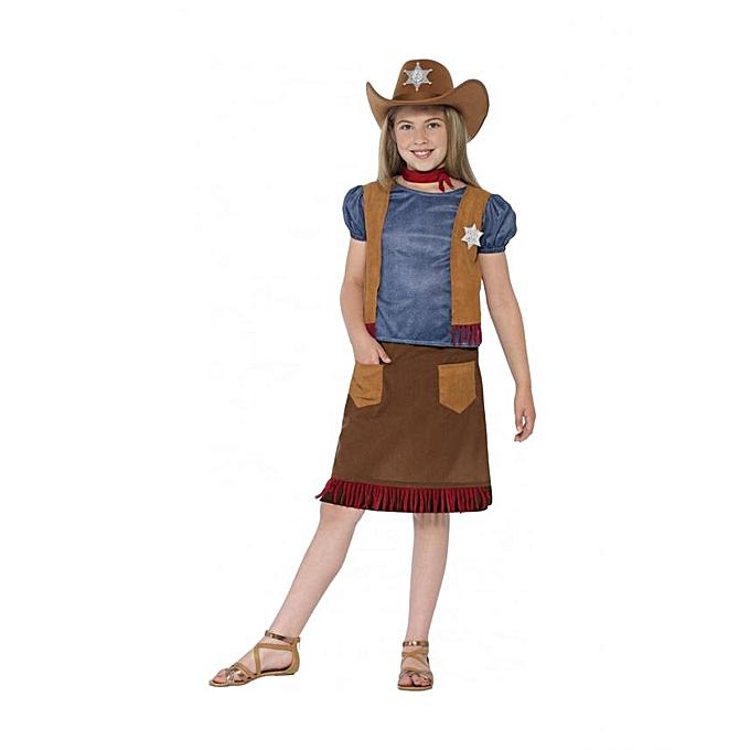 Generic Déguisement Cowboy de l'ouest pour fille (Taille 4 à 6 ans) à prix pas cher