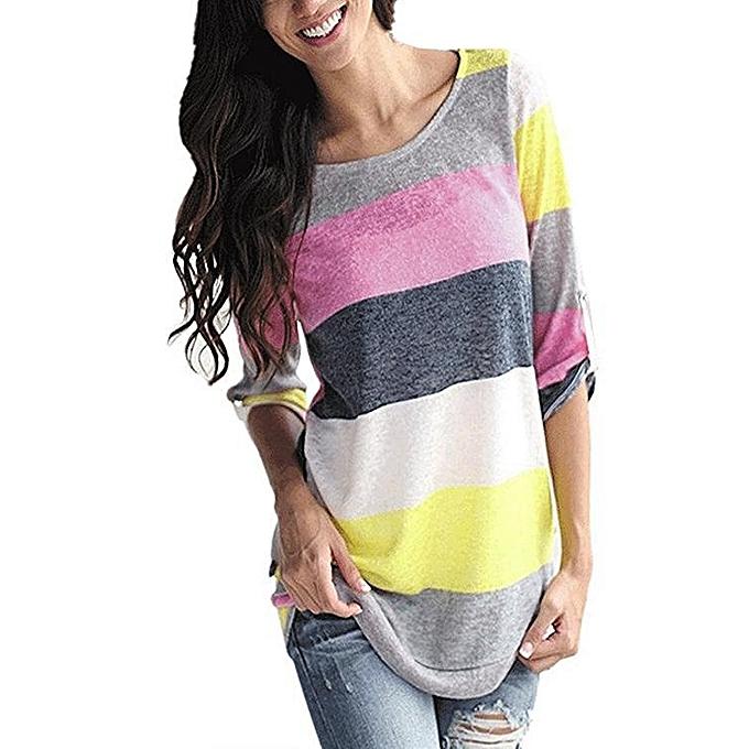Fashion YOINS femmes New High Fashion Clothing Round Neck Long Sleeves Stripe Pattern Loose Fit jaune T-Shirt Top à prix pas cher