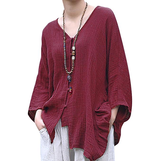 mode Vintage femmes V-Neck Pure Couleur Button Loose Shirts à prix pas cher