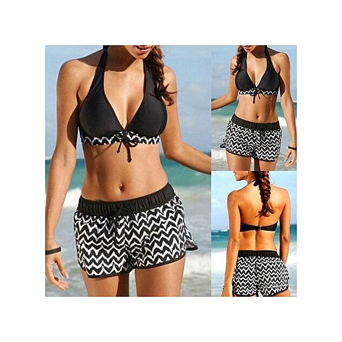 Generic Felicemall femmes Tankini Sets Two Piece Bikini Sets With Surfing Short Boy Shorts Swimwear à prix pas cher