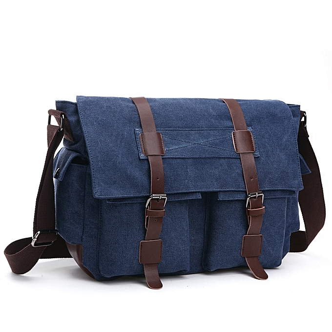 Other Vintage Men Messenger Bags Canvas Shoulder Bag Fashion Business Crossbody Bolsas Maleta Travel Handbag Sacoche Homme Marque Luxe(bleu) à prix pas cher