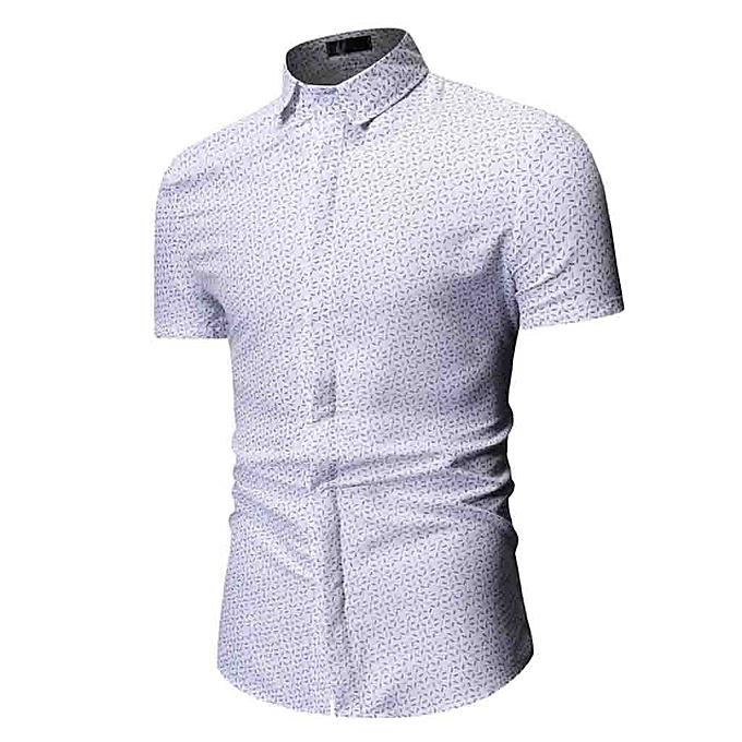 Fashion Men's Summer Print Turn-Down Collar Slim Fit Short Sleeve Top Shirt Blouse à prix pas cher