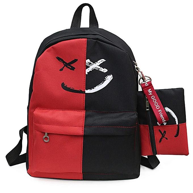 Generic 2Pcs femmes Girls Smile Shoulder Bookbags School Travel Backpack+Small Bag à prix pas cher