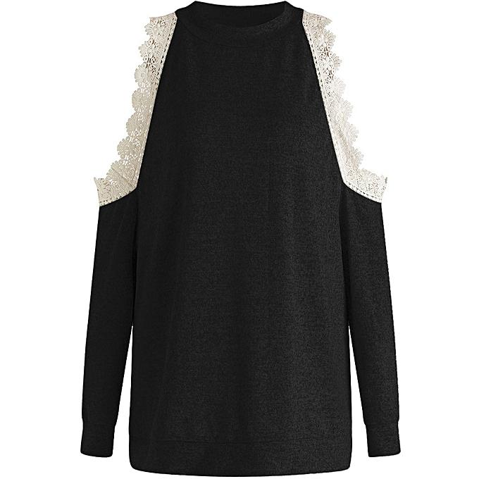 mode jiahsyc store femmes manche longue Round Neck Top Solid Couleur Off Shoulder Lace chemisier Shirt-noir à prix pas cher