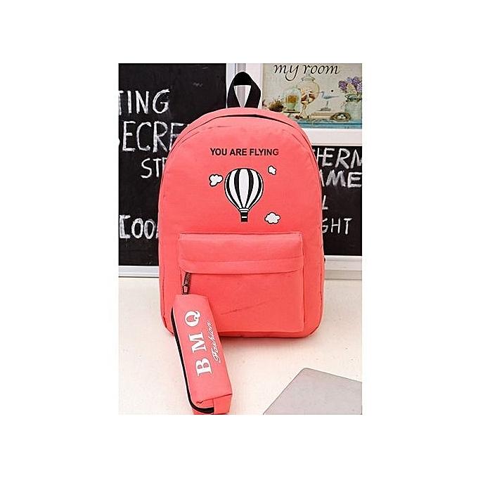 Duoya Unisex Canvas Print Letter Two Set Double-Shoulder School Travel Backpack Bag -rouge à prix pas cher