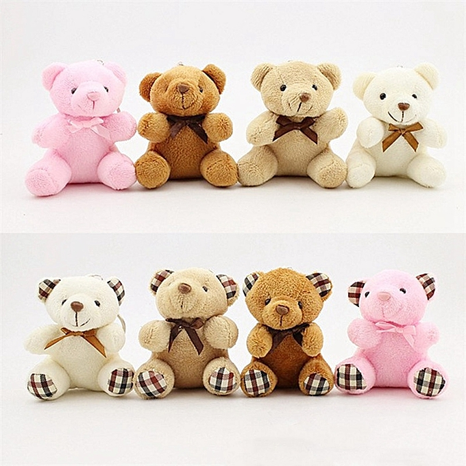 Autre Enfants Toys Stuffed Animals Fluffy Bow cravate Bear 8CM Teddy Bear Cute Plush Toys sac Keychaîne voiture Key Holder For pendentif Doll(PK1) à prix pas cher