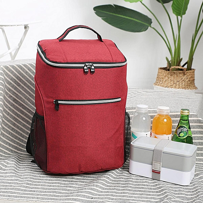 Fashion 20L Large Capacity Cooling Heat Insulated Travel Drink Lunch Waterproof Backpack gris   rouge à prix pas cher
