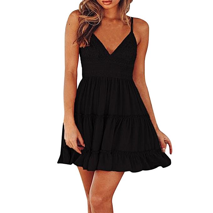 Fashion schoolcool femmes Summer Backless Mini Dress Evening Party Beach Dress Sundress BK XL à prix pas cher