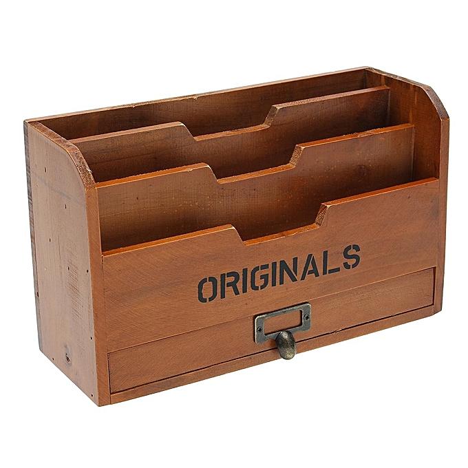 UNIVERSAL Solid Wood Letter Rack Vintage Drawer Stationery Holder Storage Rack Letters NEW à prix pas cher