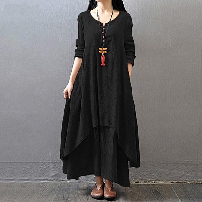 Kokobuy femmes Dress Solid Couleur Round Collar Long Sleeve Loose Length à prix pas cher