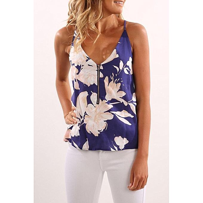 Fashion YOINS 2017 New femmes High Fashion Clothing Casual Sleeveless Round Neck Floral bleu Cami Top à prix pas cher