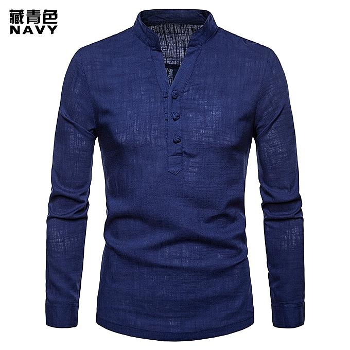 mode High Quality Solid Couleur Hommes Shirt Linen Henry Collar grand Taille Solid Couleur manche longue Shirt Décontracté Slim Fit Male Shirts- bleu à prix pas cher