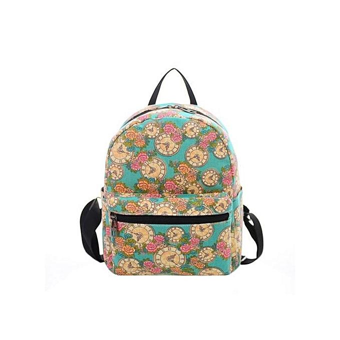 Fashion Singedanfemmes Canvas Shoulder Bag Printing Bag School Backpack Rucksack GN -vert à prix pas cher