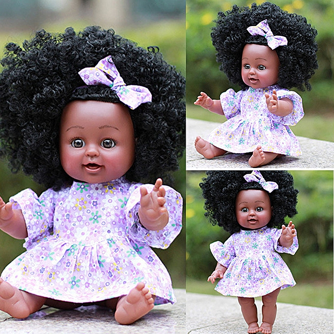 Generic noir Girl Dolls African American Play Dolls Lifelike 35cm   Play Dolls PP à prix pas cher