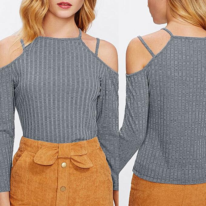 Fashion Meibaol store Sexy femmes Strapless Solid Slim Long Casual Sleeve Cotton T-Shirt Top Blouse à prix pas cher