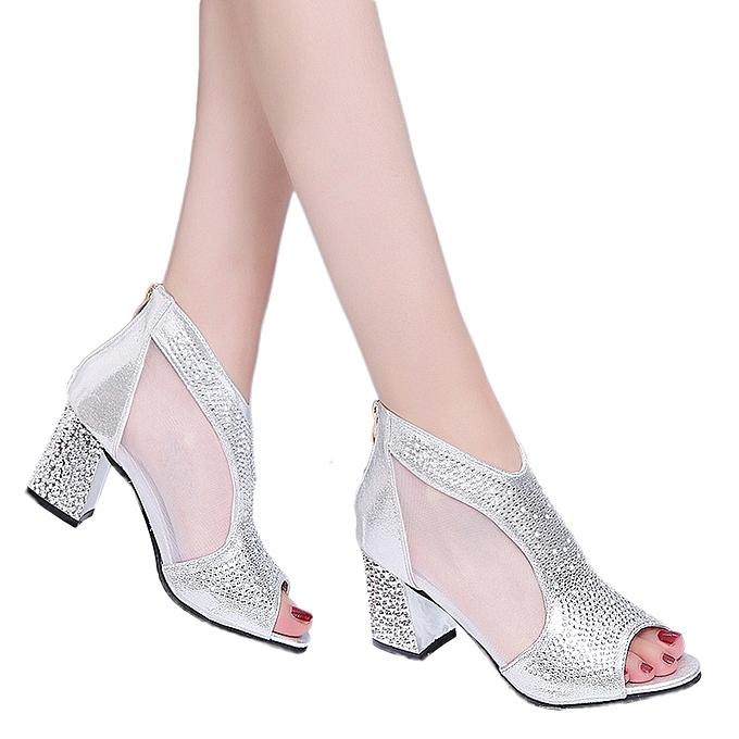 Fashion Jummoon Shop femmes Metal Buckle Rivets Zipper Fish Mouth Rough With High heeled chaussures Sandals à prix pas cher    Jumia Maroc