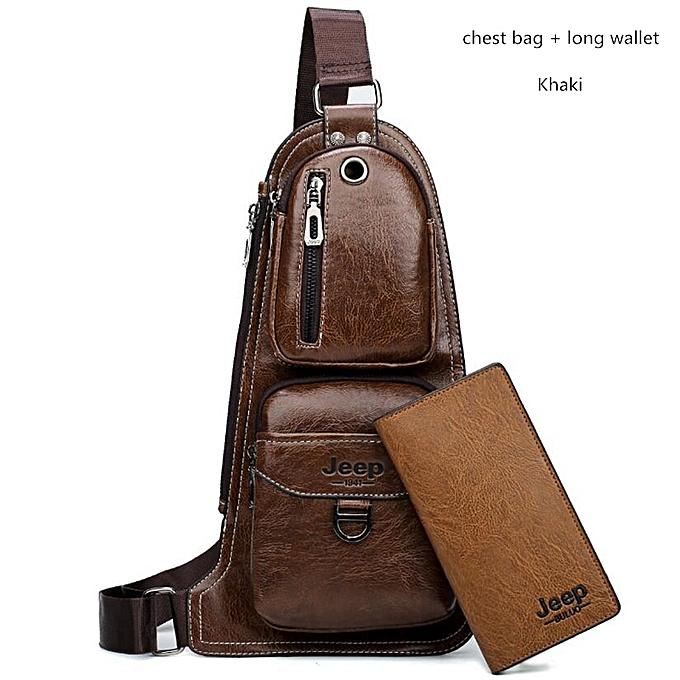 Other JEEP  Men Messenger Bags Hot Crossbody Shoulder Bag Famous Man's Leather Sling Chest Bag Fashion Casual 6196(Khaki 6196-8068) à prix pas cher