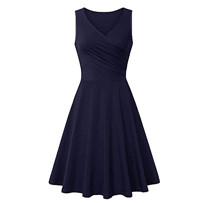 Fashion femmes V Neck Sleeveless Solid Couleur Summer Beach A Line Casual Dress à prix pas cher