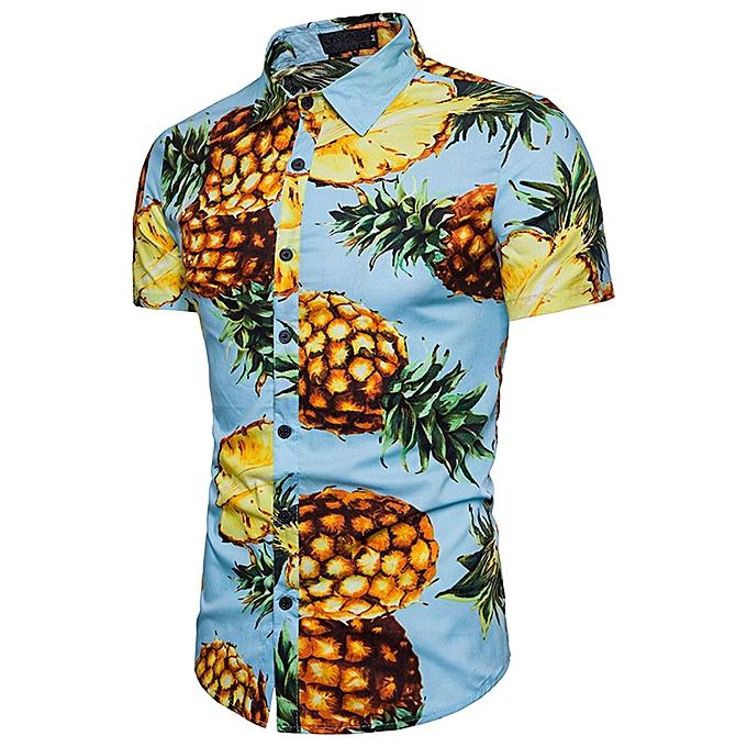 Generic Generic Personality Hommes& 039;s Décontracté Slim manche courte Pineapple Printed Shirt Top chemisier à prix pas cher