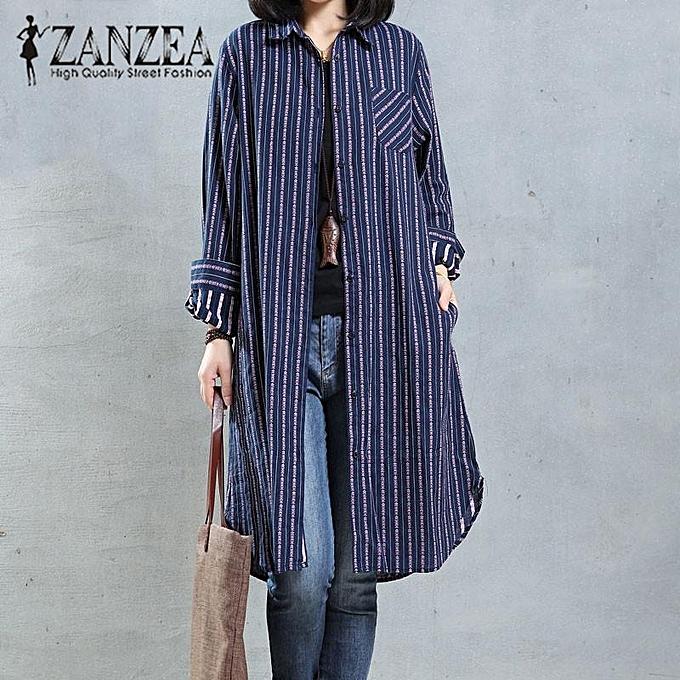 Fashion ZANZEA femmes Autumn Lapel Neck Buttons Down Long Shirt Blouse Casual Retro Embroidery Cotton Linen Loose Vestido Top S-5XL bleu à prix pas cher