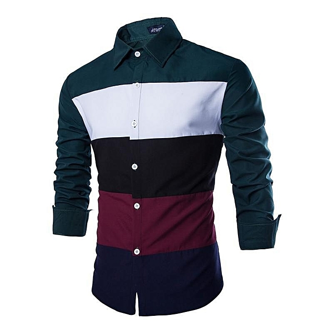 Other mode Three-Couleur Patchwork Hommes& 039;s long-sleeved Shirt à prix pas cher