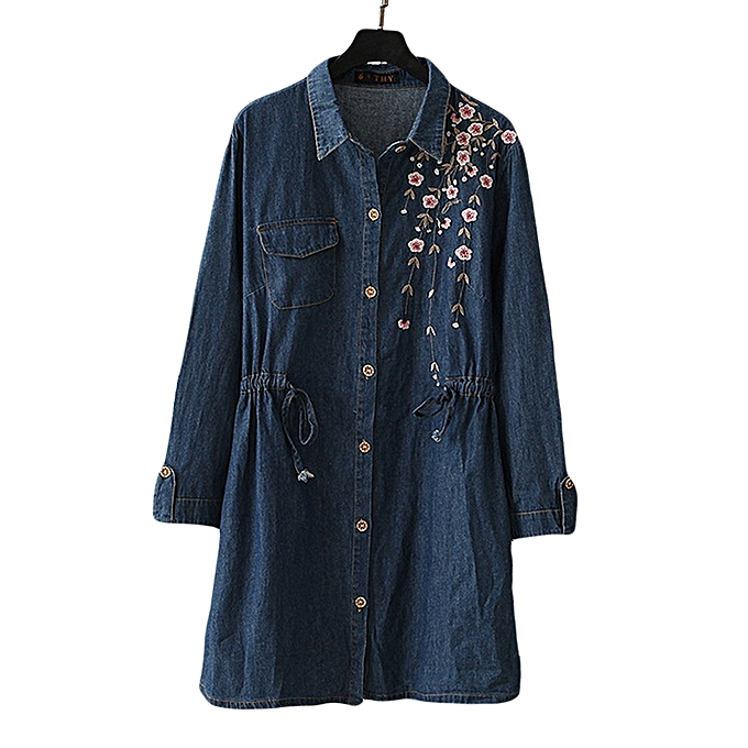 Fashion Vintage Floral Embroidery Denim  Fashion femmes Long Sleeve  Casual Shirts à prix pas cher