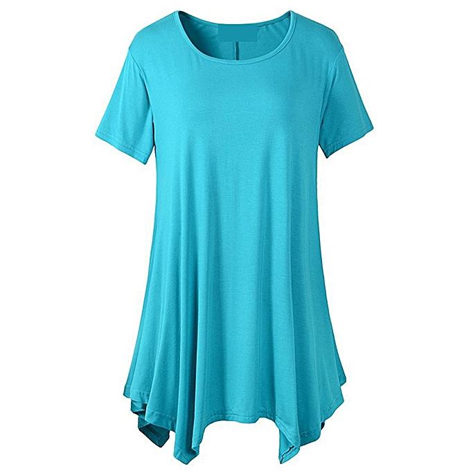 Generic Generic femmes& 039;s manche courte O-Neck Irregular Hem Loose Décontracté Tee T-Shirt hauts A1 à prix pas cher