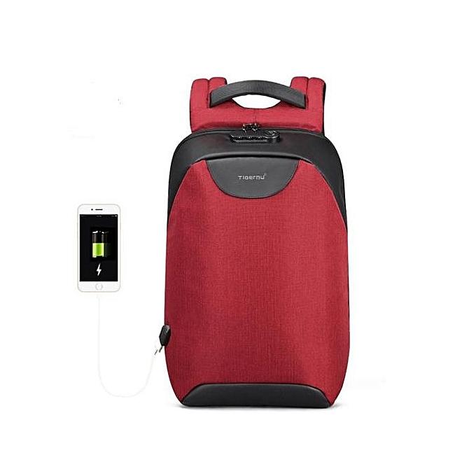 Generic Hommes 15 15.6 inch Anti theft Laptop sac à doss Multifunction imperméable USB sac à dos For Man rouge à prix pas cher