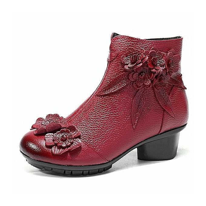 Fashion SOCOFY Fashion Retro Ankle Handmade Floral Zipper Soft Soft Zipper Leather WoHommes  Winter Boots à prix pas cher  | Jumia Maroc 65a4ee