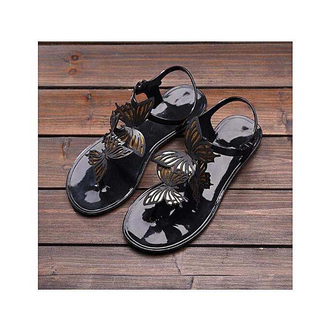 Fashion Wohommes Summer Butterfly Sandals Soft Jelly chaussures Casual Beach Flats Flip Flops à prix pas cher
