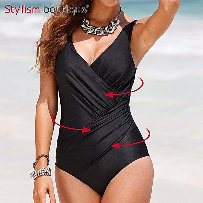 Autre Taille maillot de bain femmes 1 maillot de bain Solid Surplice maillot de bain Vintage Bodysuit Bathing Suits noir(noir) à prix pas cher